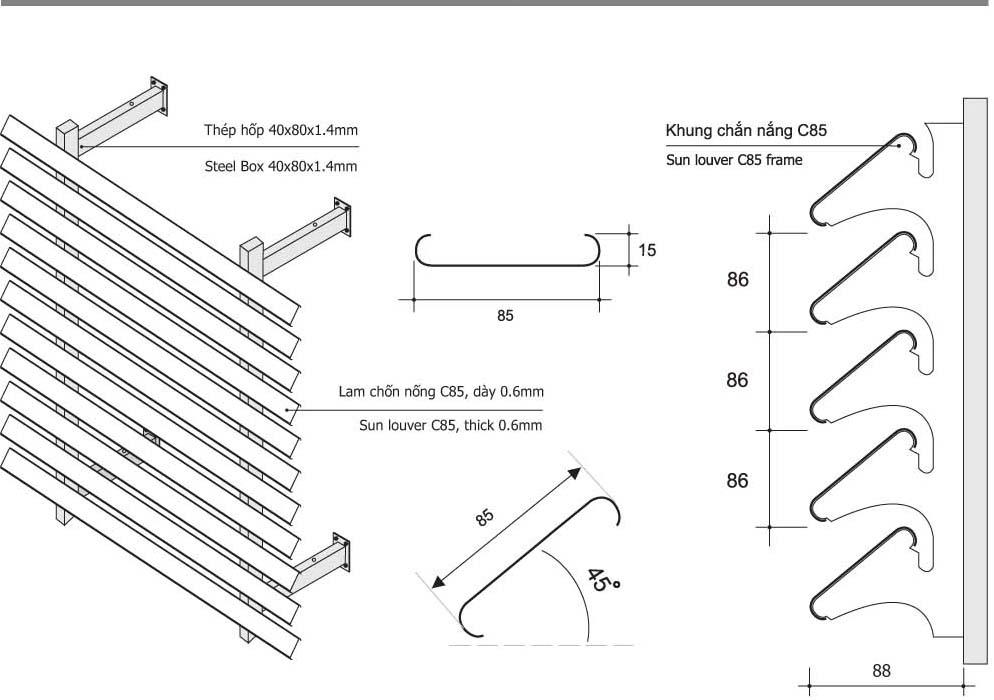 mẫu thiết kế lam chắn nắng