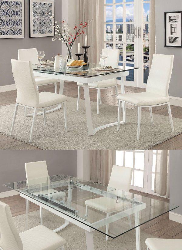 bàn ăn mở rộng kính cho 4 đến 6 người