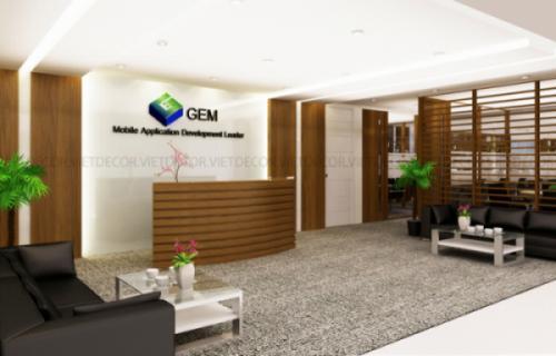 Thiết kế nội thất khu vực văn phòng và cung cấp sản phẩm nội thất Công ty GEM