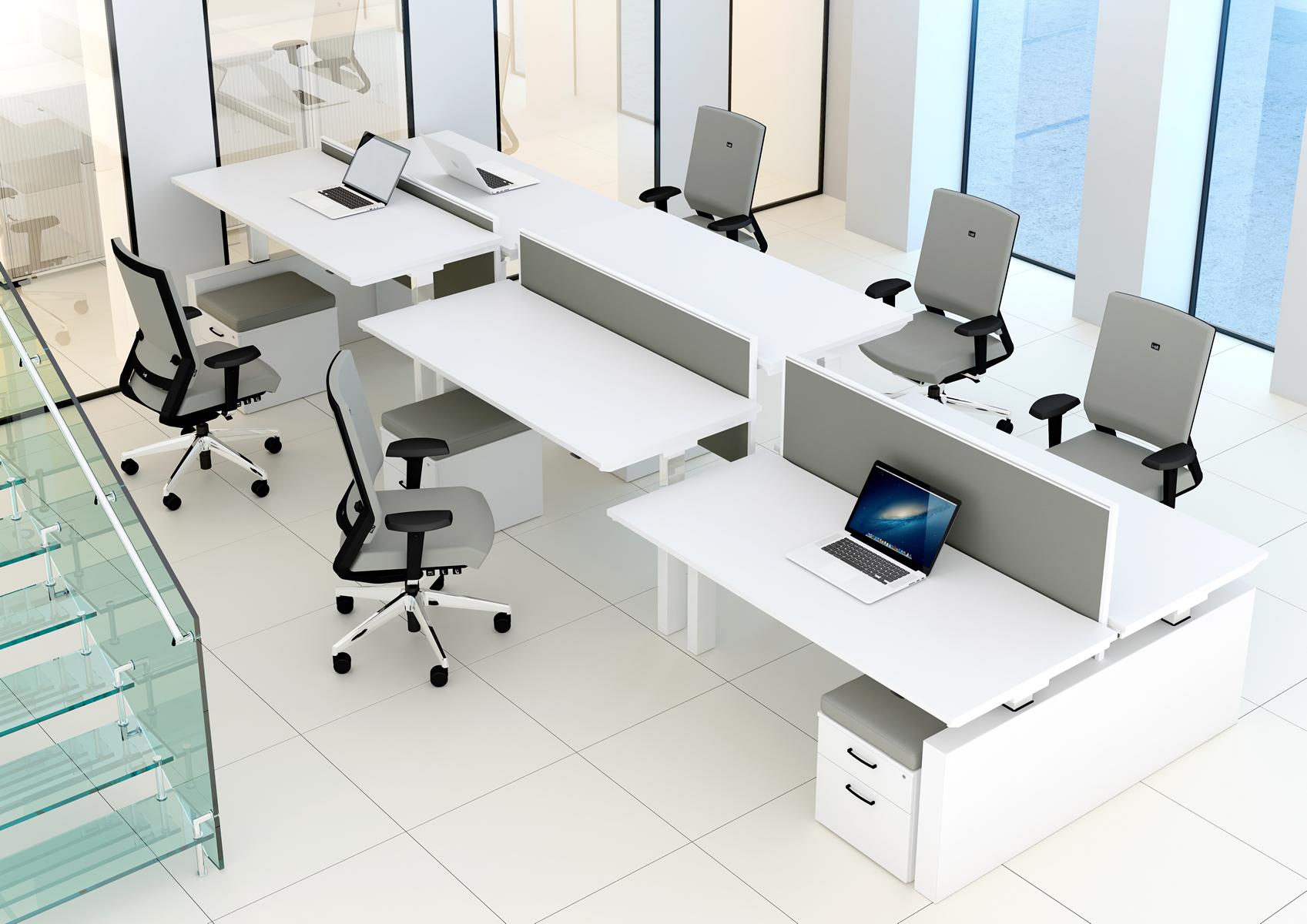 Mẫu bàn làm việc ca bin nâng hạ cho văn phòng