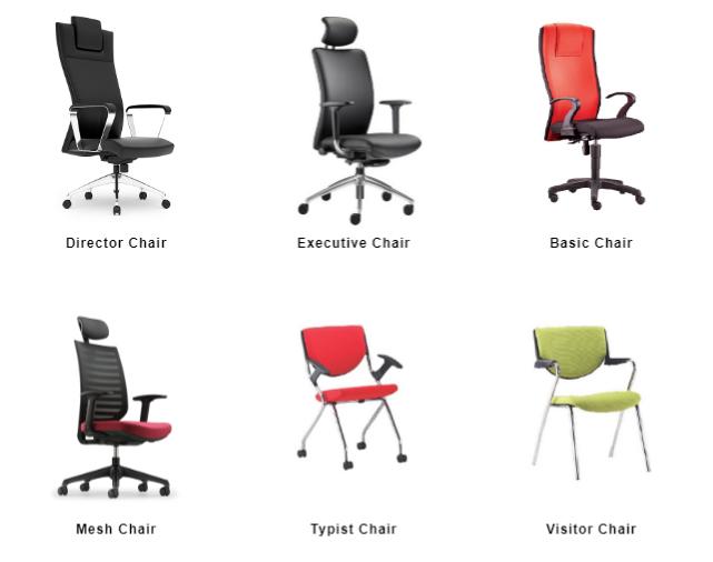 Một số loại ghế dùng trong văn phòng của hãng MECO