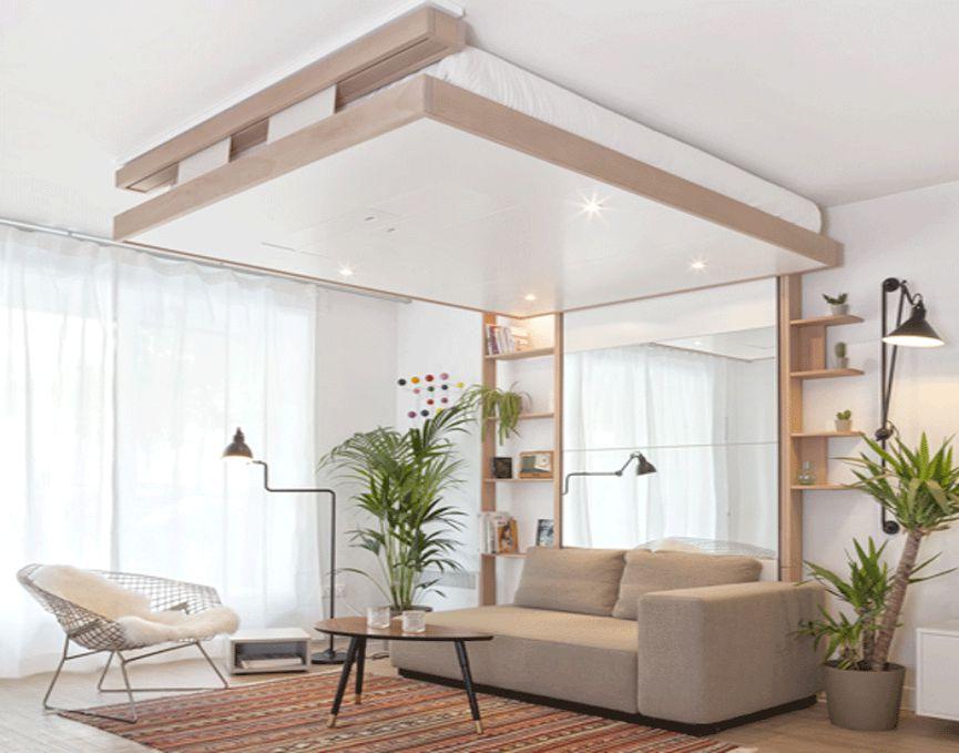 Tiết kiệm không gian sàn nhà bằng việc cất giường của bạn trên trần nhà.