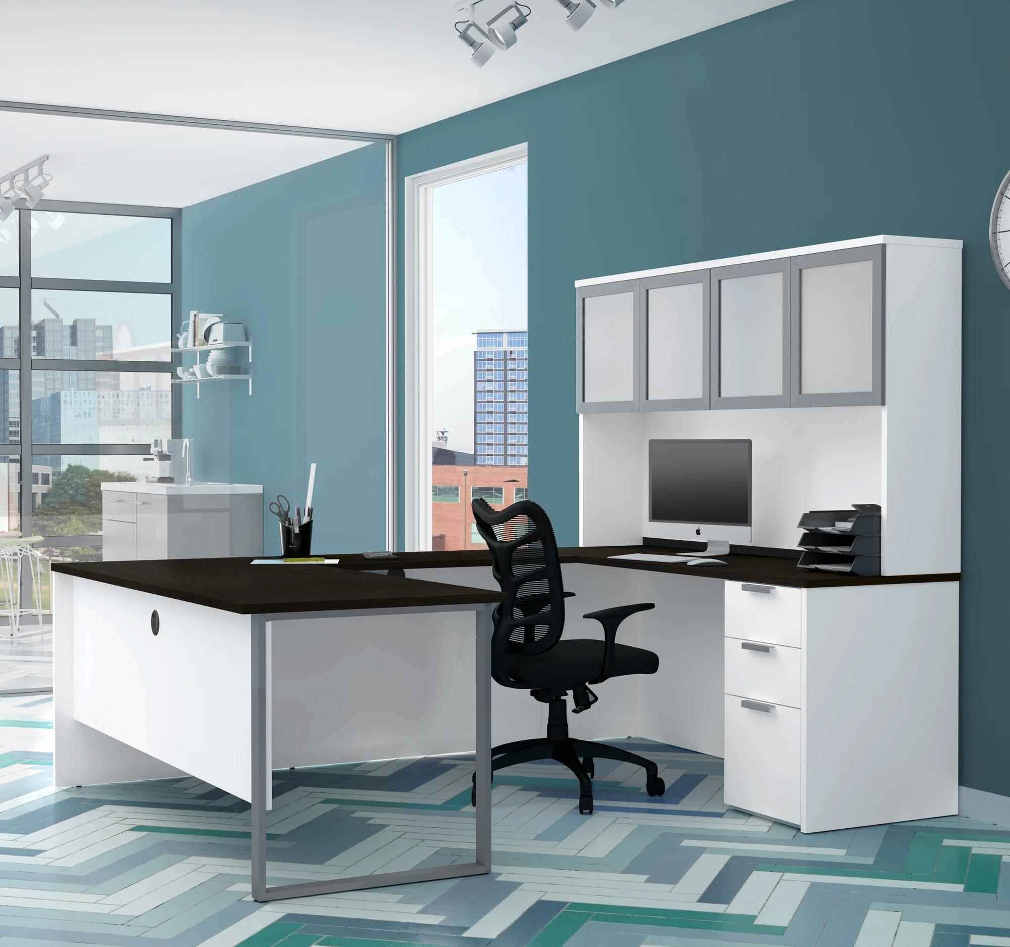 Mẫu bàn làm việc văn phòng hình chữ U