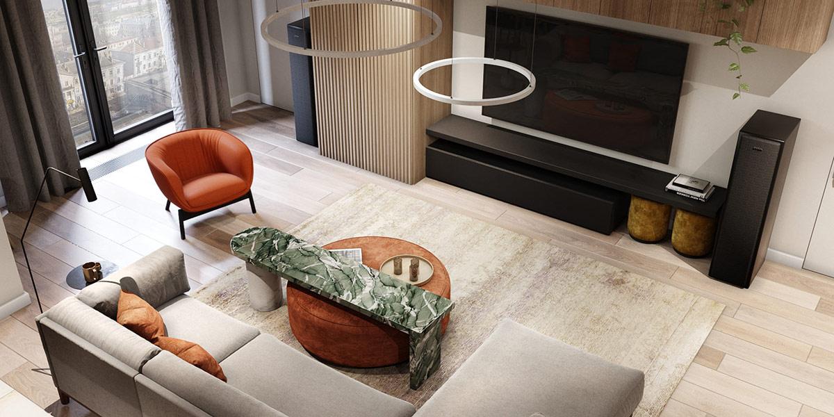 thiết kế căn hộ hiện đại cho phòng khách