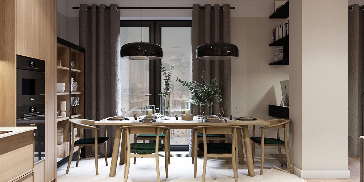 thiết kế căn hộ hiện đại cho phòng ăn