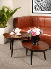 Bộ bàn trà mặt gỗ xà cừ Rustic