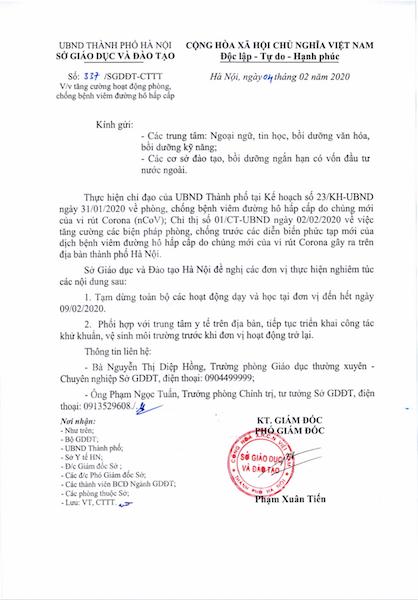 Văn bản chỉ đạo phòng, chống dịch của Sở GD&ĐT TP Hà Nội