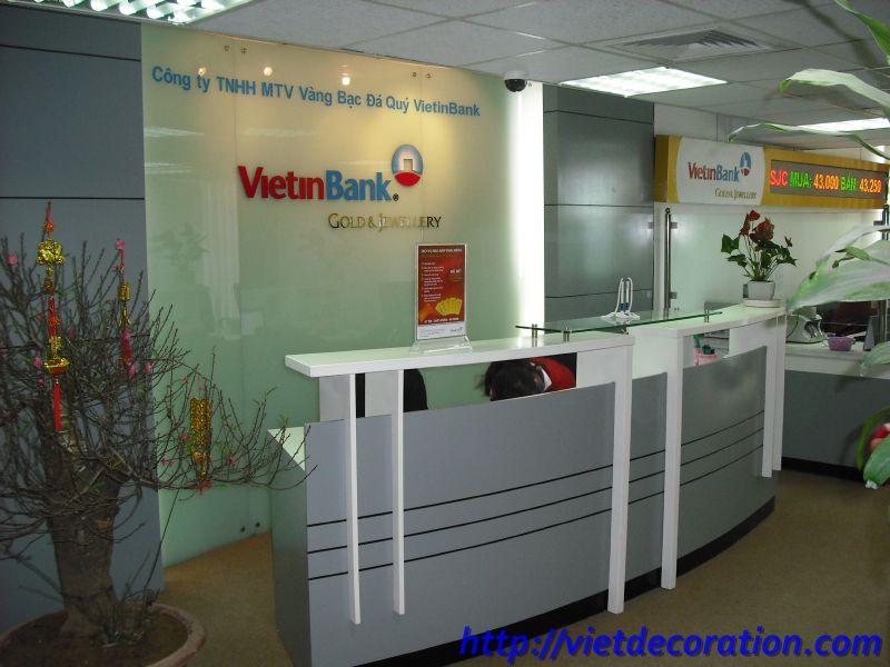 Thiết kế và thi công nội thất văn phòng  sàn giao dịch vàng thuộc Viettin Bank- Hà Nội