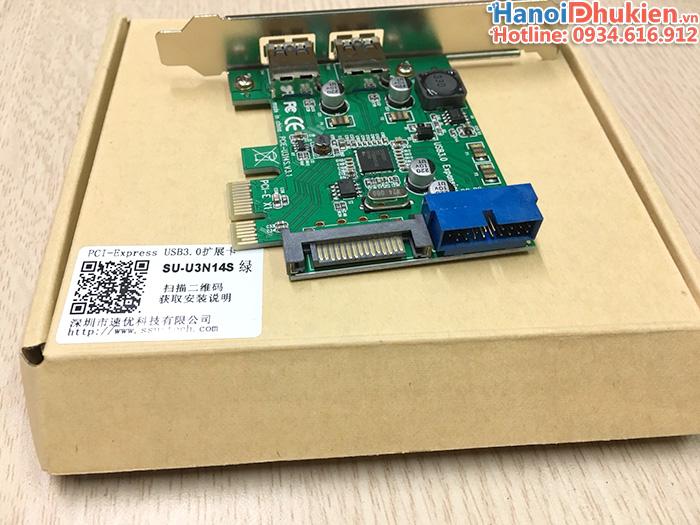 Card PCI-E 1X sang 2 cổng USB 3.0, 20Pin chip Renesas