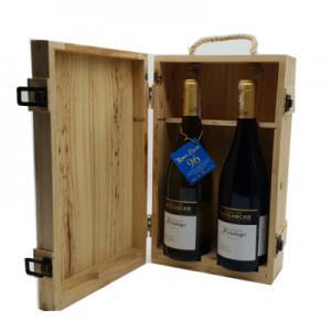 Hộp gỗ 2 chai vang Pháp Patriache