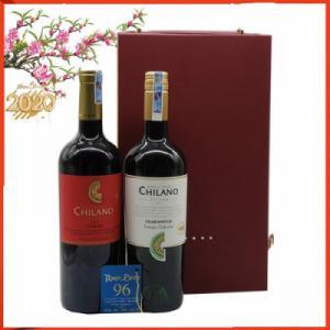 Hộp da 2 chai vang Chile Chilano trắng đỏ