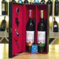 Hộp đôi da hai chai vang Pháp Balmontee