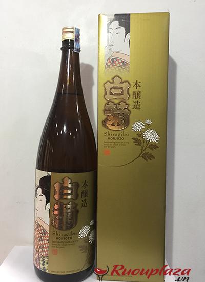 Hộp rượu Sake vẩy vàng Shiragiku honjozo 1800ml ruouplaza