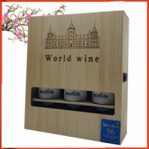 Hộp gỗ ba chai rượu vang Pháp Rombeau