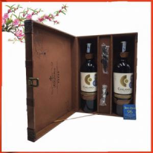 Hộp da đôi hai chai rượu vang Chilano Gold Premium Syrah