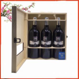 Hộp gỗ 3 chai vang Ý Brecciarolo Silver mác bạc