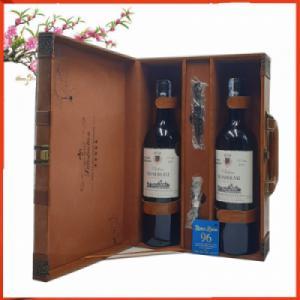 Hộp da hai chai rượu vang Pháp Rombeau