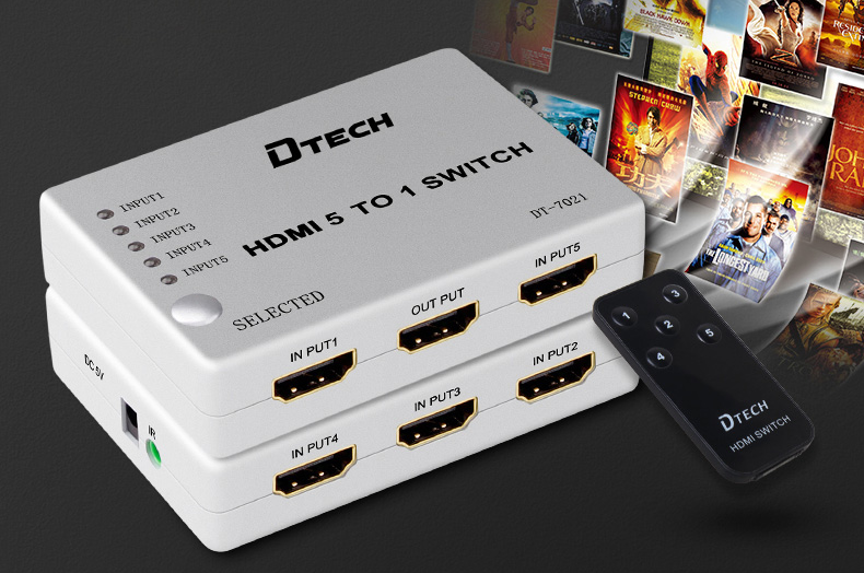 switch hdmi 5 in 1 out dtech dt-7021