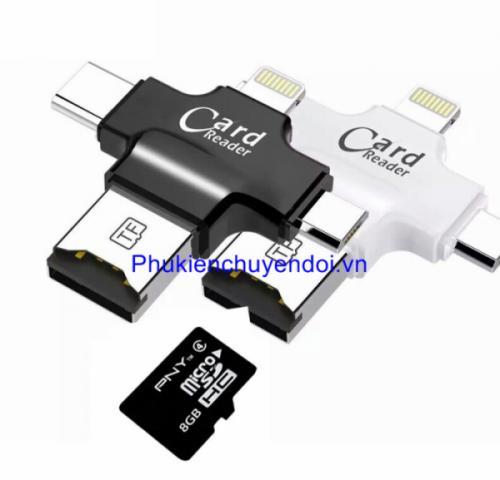 Đầu đọc thẻ 4 trong 1 ( Lightning, Type-C, Micro USB, USB A) cho thẻ nhớ Micro SD