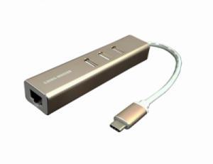 Cáp chuyển Type-C sang Lan RJ45+3 Port Hub USB 2.0 Kingmaster KM007