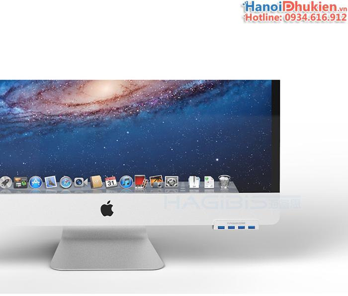 Bộ chia USB 3.0 - 1 ra 4 Hagibis chuyên dùng cho iMac, gắn màn hình, gắn cạnh bàn
