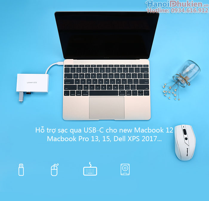 Cáp USB Type C ra Hub USB 3.0 Ugreen 30278 hỗ trợ sạc Macbook 12, Pro 13, Pro 15
