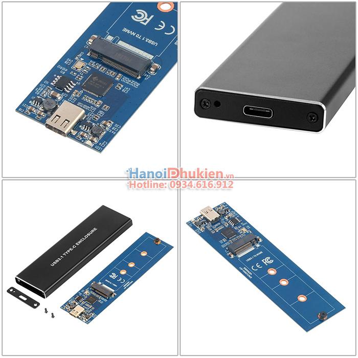 Box chuyển ổ cứng SSD M2 NVMe PCIe ra USB 3.1 Type C 10Gb