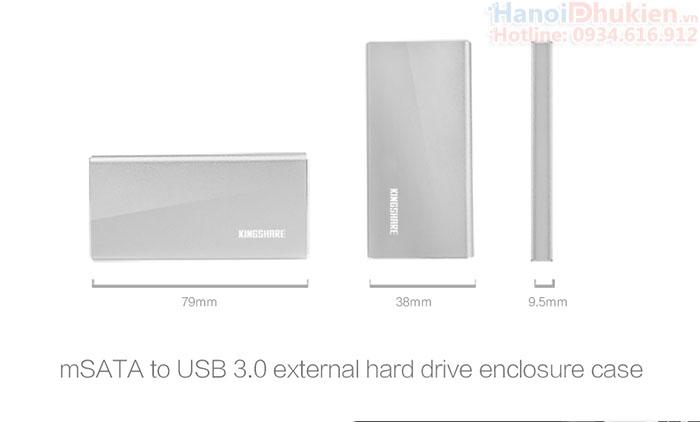 Box chuyển ổ cứng mSATA sang USB 3.0 Kingshare KS-AMTU02 vỏ nhôm