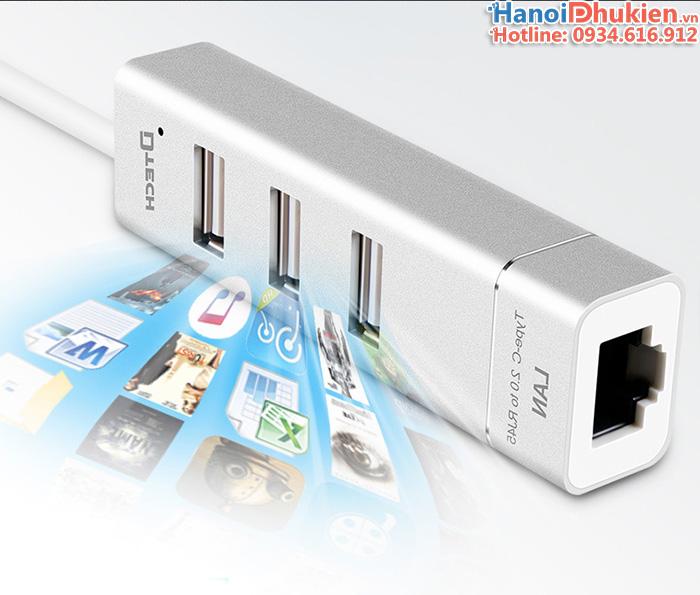 Bộ chuyển đổi USB Type C sang 3 cổng USB 2.0, LAN Dtech vỏ nhôm