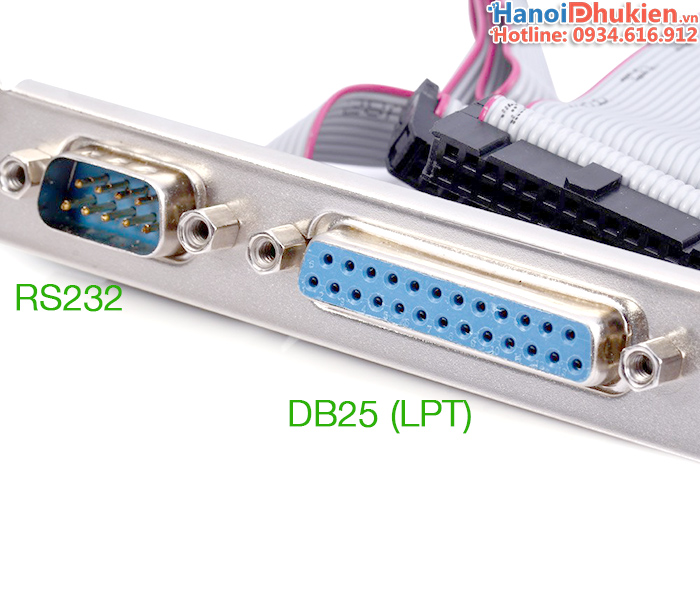 Cáp chuyển đổi COM 9Pin, LPT trên Mainboard ra khe PCI gắn sau Case