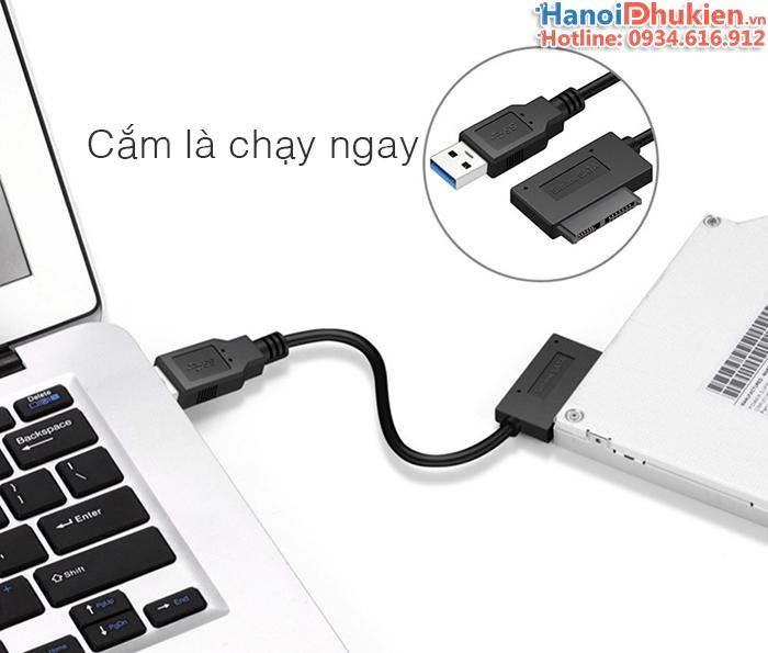 Cáp kết nối DVD Laptop sang USB 3.0 (USB to Slimline SATA 7+6)