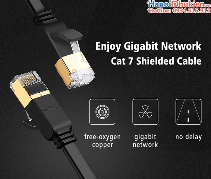 Cáp mạng CAT 7 dây dẹt 10gbps Ugreen chính hãng, lõi đồng nguyên chất