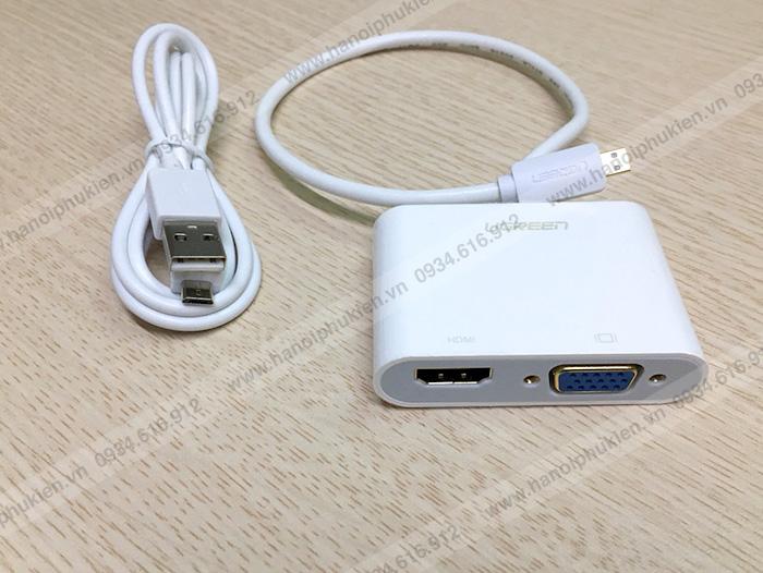 Adapter chuyển đổi Micro HDMI sang 2 cổng HDMI/VGA Ugreen chính hãng
