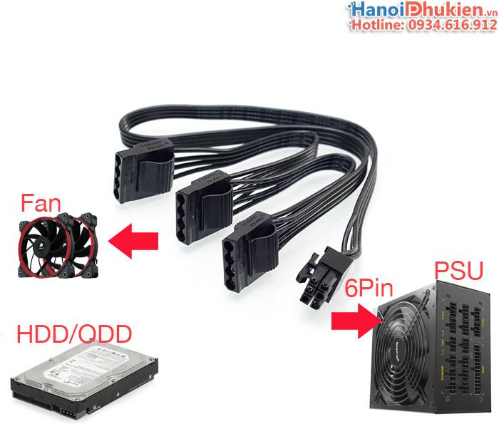 Cáp nối nguồn 6Pin PSU Modular sang 3 IDE (ATA) cho HDD, ổ đĩa DVD, FAN
