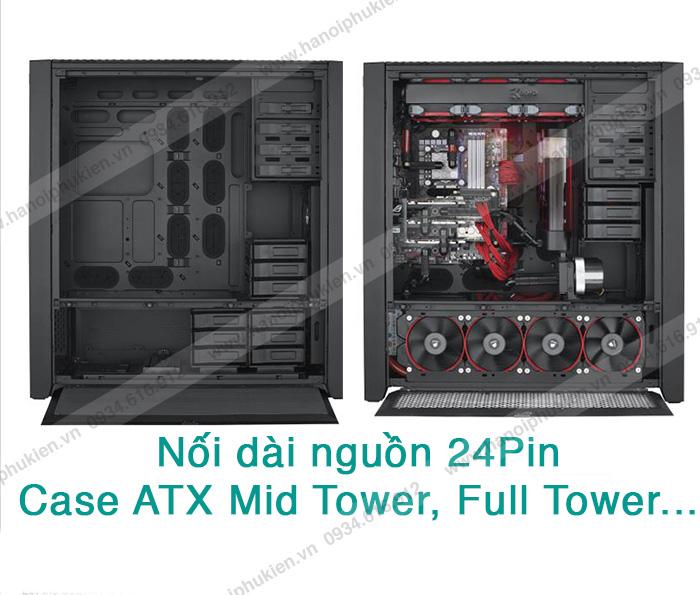 Dây cáp nối dài nguồn PSU ATX 24pin đầu đực - đầu cái dài 30cm chuẩn 18AWG
