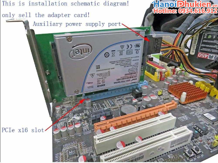 Card chuyển đổi PCIe 4x sang U.2 SFF-8639 NVMe SSD 2.5