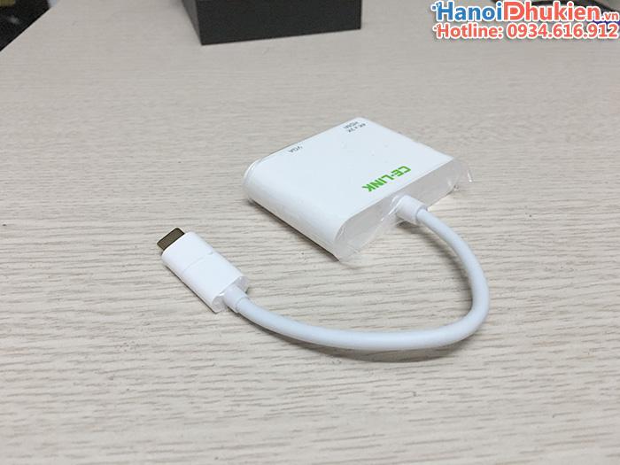 Cáp kết nối New Macbook 12, 13, Dell XPS ra máy chiếu 2 cổng HDMI/VGA