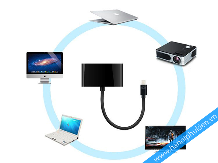 mini displayport to hdmi, thunderbolt to vga, macbook sang hdmi, macbook sang vga, unitek y6328bk