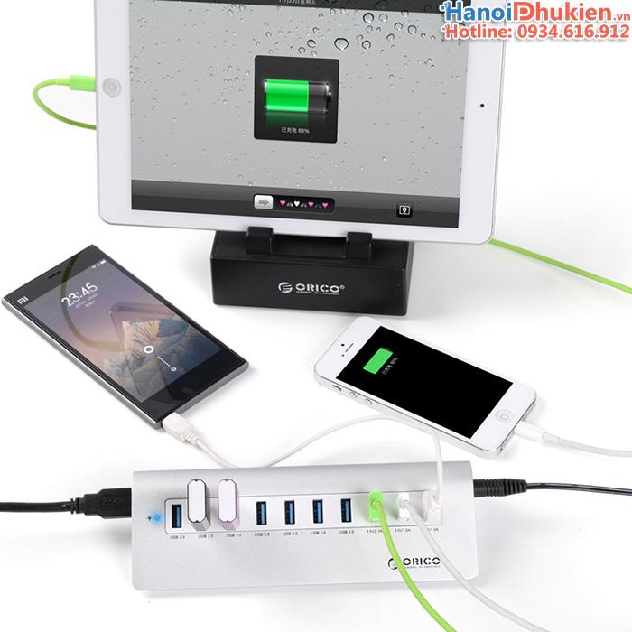 Bộ chia usb 3.0 - 7 cổng, tích hợp thêm 3 cổng USB 5V sạc Orico M3H73P