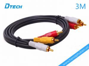 Cáp loa AV 3-3 đầu hoa sen 3M Dtech DT-6206