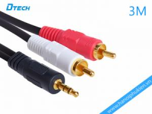 Cáp âm thanh 1 ra 2 hoa sen 3M Dtech DT-6212