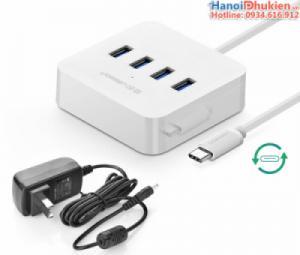 Type C Hub USB 3.0 4 Port Ugreen 30316, hỗ trợ nguồn ngoài