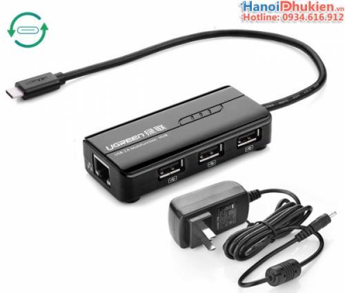 Bộ chia Type C ra 3 USB + LAN Ugreen 30289 chính hãng