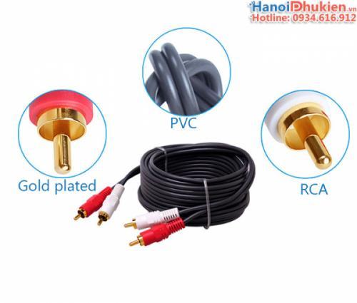 Cáp âm thanh RCA 2-2 đầu hoa sen dài 10M Dtech DT-6204 chính hãng