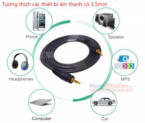 Cáp âm thanh 3.5mm hai đầu đực 5M Dtech DT-6222 chính hãng