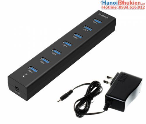 Bộ chia 7 cổng USB 3.0 Orico H7013-U3, có hỗ trợ nguồn ngoài