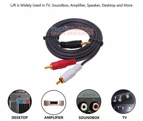 Cáp âm thanh 3.5mm 1 ra 2 hoa sen RCA dài 10M Dtech DT-6214