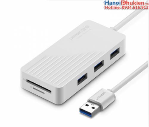 Bộ chia USB 3.0 3 cổng tích hợp đầu đọc thẻ nhớ SD TF Ugreen 30401