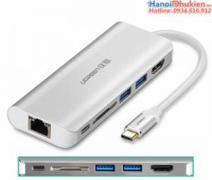 Cáp chuyển đổi Thunderbolt 3 sang HDMI, LAN, USB 3.0, Đọc thẻ SD, hỗ trợ sạc Ugreen 40873