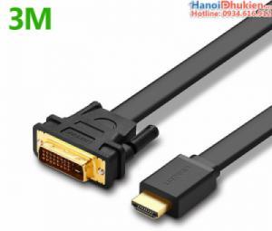 Cáp HDMI sang DVI-D 24+1 dây dẹt 3M Ugreen 30107